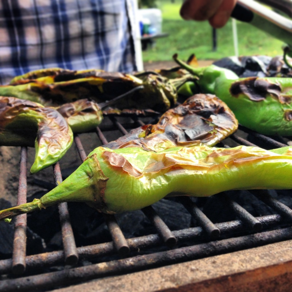 green chiles roasting