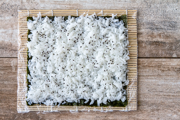 the vinegar water helps to prevent rice sticking to your hands