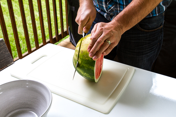step one, get hunky guy to cut your watermelon